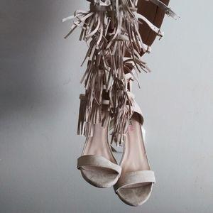 Fringe Gladiator heeled sandals